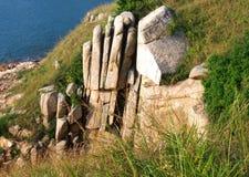 Gömma i handflatan Cliff Natural Granite Rock i Hong Kong arkivbild