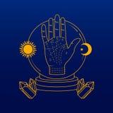 Gömma i handflatan den läsningbilden/symbolen/logoen Konstillustration royaltyfri illustrationer