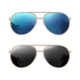 Gömma i handflatan den moderna solglasögon för flygare med reflexion Illustration för vektorfärglägenhet royaltyfri illustrationer