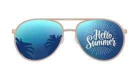 Gömma i handflatan den moderna solglasögon för flygare med reflexion och Hello sommarbokstäver royaltyfri illustrationer