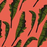 Gömma i handflatan den sömlösa modellen för vändkretssommarmålning med bananbladet royaltyfri illustrationer