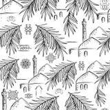 Gömma i handflatan den sömlösa modellen för vektorn med detdrog datumet filialer, kupoler och minaret Svartvitt tryck med orienta royaltyfri illustrationer
