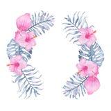 Gömma i handflatan den tropiska indigoblå blom- kransen för vattenfärgen med hibiskusen för den rosa callaen och sidor av indigob Arkivbilder