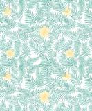 Gömma i handflatan den tropiska modellen för den sömlösa vektorn med aquagräsplan sidor och pastellfärgade gula blommor stock illustrationer