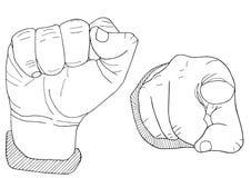 Gömma i handflatan handen drog skissade illustrationen Arkivfoto