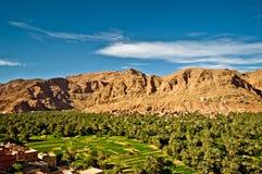 Gömma i handflatan oasen av Tineghir i Marocko vid Todra arkivbilder