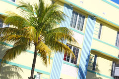 Gömma i handflatan och art déco, Miami Beach Arkivbild