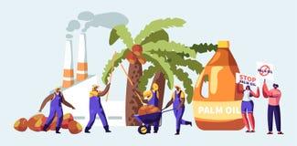 G?mma i handflatan olja - begrepp f?r producerande bransch med arbetare som samlar frukter, bearbeta fabrik med r?r som s?nder ut vektor illustrationer