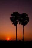 Gömma i handflatan på bakgrunden för skönhetsolnedgångskyen, Thailand Arkivfoton