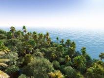 Gömma i handflatan på den tropiska tolkningen för stranden 3d Arkivfoton
