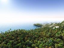 Gömma i handflatan på den tropiska tolkningen för stranden 3d Royaltyfria Foton