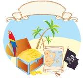 gömma i handflatan papegojan piratkopierar s-skattvektorn Arkivfoto
