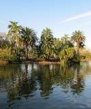 Gömma i handflatan paradiset och reflexionen i sjön Landskap Arkivfoto