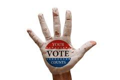 gömma i handflatan röstar Arkivfoto