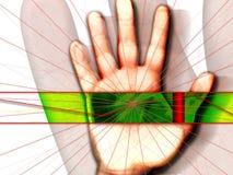 gömma i handflatan scanningen Fotografering för Bildbyråer