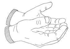 Gömma i handflatan tiggerin som dricker handen drog skissade illustrationen Royaltyfri Bild