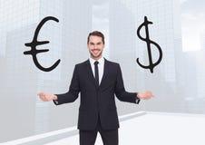 Gömma i handflatan väljande eller avgörande euro- eller dollarvaluta för mannen med öppet händer stock illustrationer
