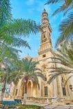 Gömma i handflatanträdgården av Abu al-Abbas al-Mursi Mosque, Alexandria, Egy Arkivfoto