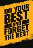 Gör din bästa och glöm citationstecknet för motivationen för sporten och för kondition för vila det inspirerande idérika stock illustrationer
