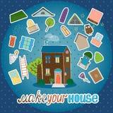 Gör ditt hus - nattversion Arkivbilder
