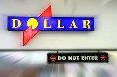 gör dollaren skriver in inte det symboliska vägmärket Arkivbild