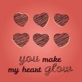 'Gör du min hjärta att glöda' typografi greeting lycklig s valentin för kortdag Arkivbilder