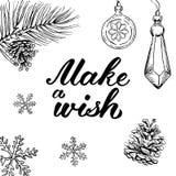 Gör en önska! Räcka utdragna grafiska beståndsdelar och bokstäver Arkivbild
