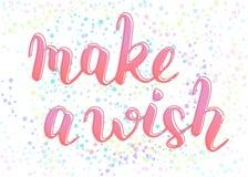 Gör ett önskauttryck för att gratulera med födelsedagen, hand-skriftlig bokstäver med översikten, skriftkalligrafi, rosa tecken vektor illustrationer