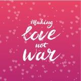 Gör förälskelse att inte kriga bokstäver - beståndsdelen för den grafiska designen för den kalligrafivykortet eller affischen stock illustrationer