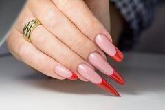 gör för att spika upp polerade produkter Art Manicure Spikar den röda svarta lutningen för modern stil polermedel Skönhethänder m royaltyfri foto