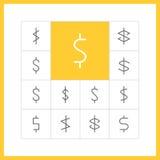 Gör linjen dollartecken tunnare Vektor Illustrationer