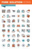 Gör linjen rengöringsduksymboler för e-kommers och shopping tunnare Royaltyfria Bilder