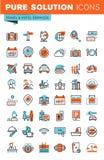 Gör linjen rengöringsduksymboler för lopp och turism tunnare Arkivbild