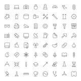 Gör linjen symboler för teknologi, bransch och vetenskap tunnare Arkivbild