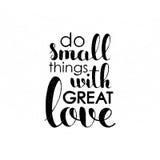 Gör liten saker med handskriven bokstäver för stor förälskelse stock illustrationer