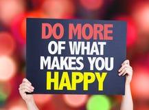 Gör mer av vad gör dig det lyckliga kortet med bokehbakgrund Royaltyfria Bilder