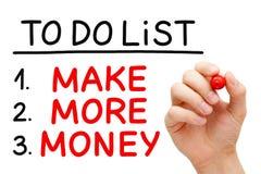 Gör mer pengar för att göra listan Arkivfoton