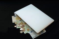 Gör pengar online- i påse Arkivbilder