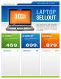 gör ren försäljningen för designreklambladbärbar dator Arkivfoto