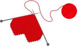 Gör ull stucken hjärta vektor illustrationer