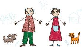 gör ungar för farmodern för teckningsfamiljfarfadern royaltyfri illustrationer