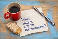 Gör vad en stor presentation? Royaltyfria Foton