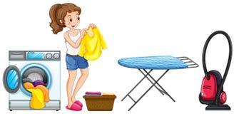 göra den home tvätterikvinnan vektor illustrationer