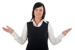 göra en gest för affärskvinna Arkivbild