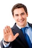 göra en gest för affärsman som är lyckligt arkivfoton