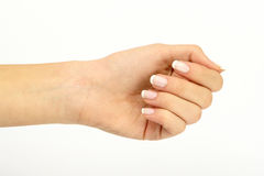 göra en gest handmanicurekvinna Arkivfoton