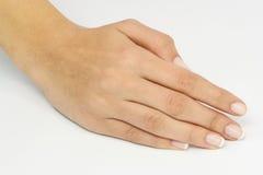 göra en gest handmanicurekvinna Royaltyfria Foton