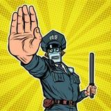 göra en gest handstoppet Robotpolis vektor illustrationer