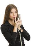 Göra en gest keeptystnad för lyckad affärskvinna Fotografering för Bildbyråer