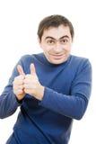 Göra en gest lyckade shows för en man okay arkivbild
